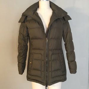 Burberry Brit Olive Green Down Coat Size Large